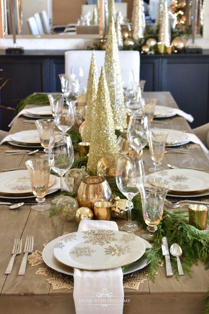 Gold And Silver Snowflake Christmas Table Setting Home With Holliday Christmas Table Centerpieces Christmas Table Decorations Centerpiece Holiday Table Decorations