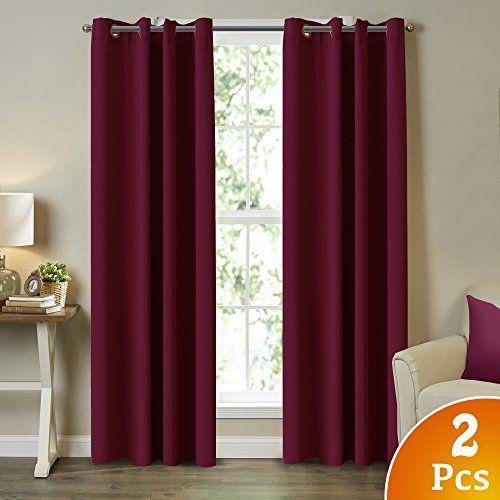 Blackout Burgundy Curtains For Bedroom Living Room 100 Privacy Panel D 52 Wide X 108 Long Each Grommet Top Set Of 2
