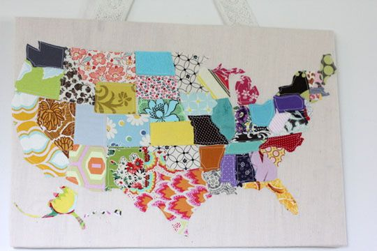 scraps of fabric map: Idea, Wall Hanging, Maps, Scrap Fabric, Scrap Map, Fabric Scraps, Crafts