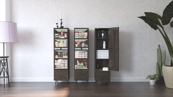 4층 책가도 수납장 월넛의 고급스러움이 부가된 입체감이 느껴지는  책가도 수납장세트입니다. www.maisondehan.com