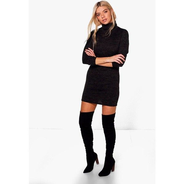 Boohoo Florence Roll Neck Jumper Dress ($18) ❤ liked on Polyvore featuring tops, sweaters, chunky white sweater, turtle neck sweater, white turtleneck sweater, sequined sweater and knit sweater