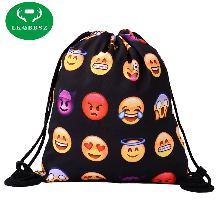 Women Backpacks Canvas Soft Functional Stylish Smile Face Clothes Toys Book Cosmetics Organization Storage Bags Drawstring
