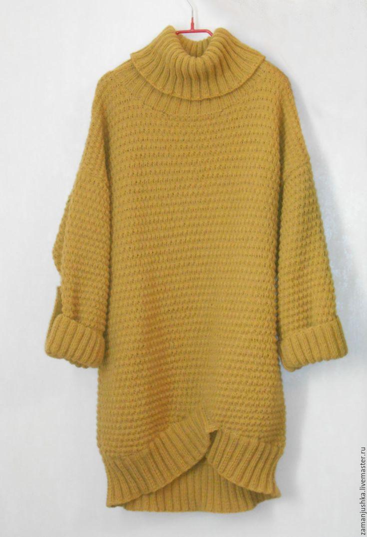 Купить Свитер оверсайз - хаки, свитер, свитер теплый, свитер вязаный, свитер вязанный