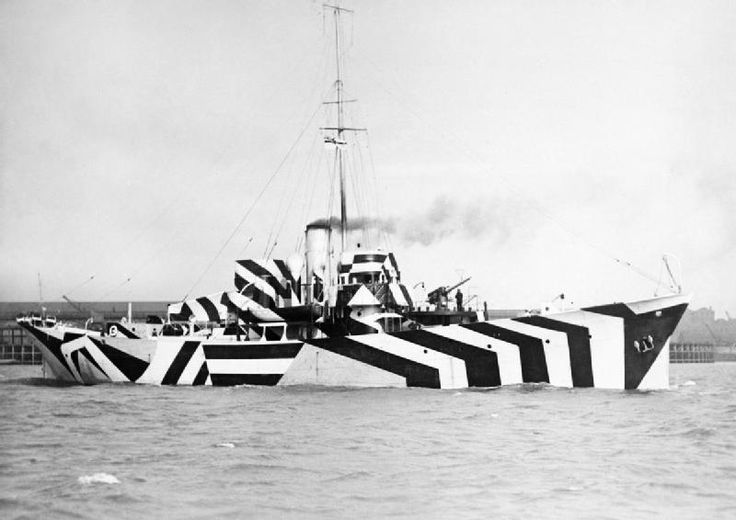 HMS Kildangan (1918) in dazzle camouflage. It was a military camouflage paint scheme used on ships, extensively during World War I and to a lesser extent in World War II. After the Allied Navies failed to develop effective means to disguise ships in all weathers, the dazzle technique was employed, not in order to conceal the ship, but rather to make it difficult for the enemy to estimate its type, size, speed and direction of travel.