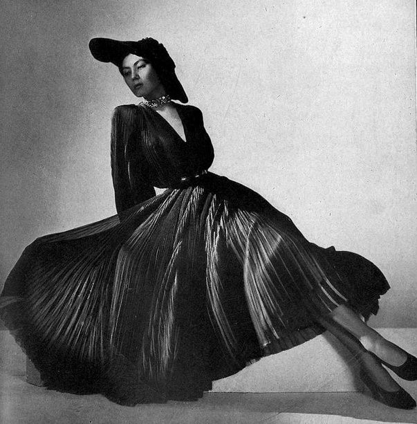 1947 - Alla in finely pleated mousseline dress by Christian Dior