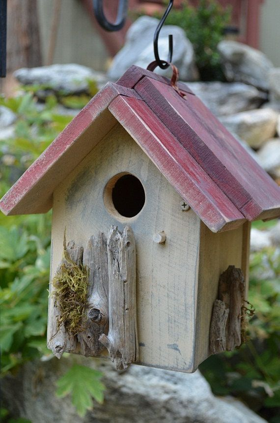 Rustic Birdhouse Handmade Wren House Outdoor Garden Yard Art Lawn Ornament  Decorative Patio Woodworking - Home & Living