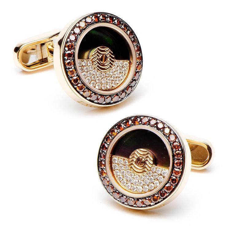 Cognac Diamonds Rotor Cufflinks