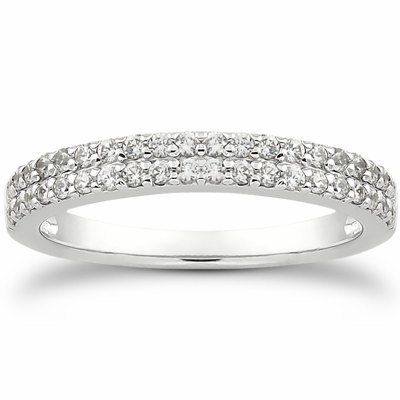 Double Row Pave Wedding Band