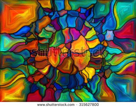 Patterns of Color series. Composition of painted stained glass pattern on the subject of imagination, creativity and art