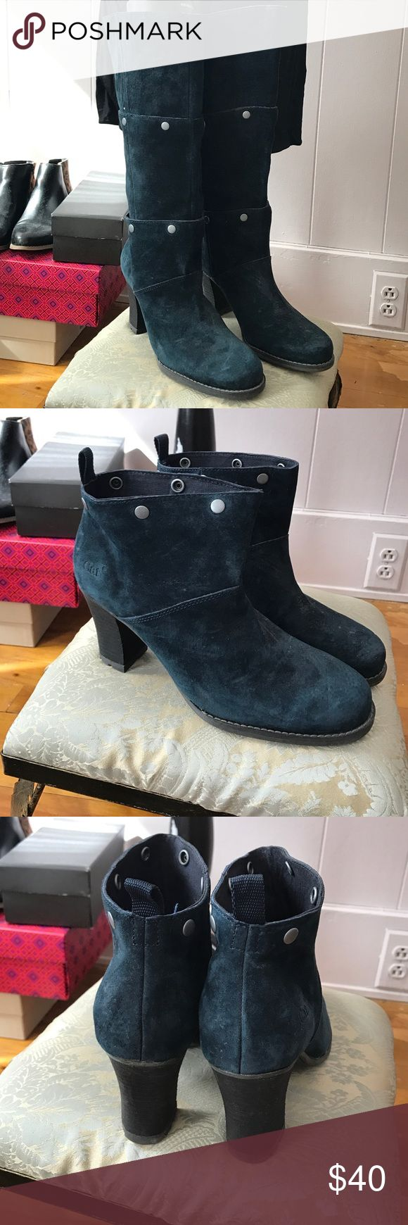 Blue suede CAT boots never worn These unique boots can be worn at 3 different lengths by unsnapping the buttons on each layer. They are very durable and have grips on the bottom for traction. Purchased from QVC during NYFW event and never worn. Heel height is 2 1/2 inches. Caterpillar Shoes Heeled Boots