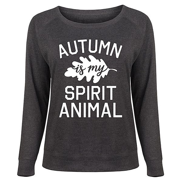 Festuvius Plus Heather Charcoal 'Autumn Spirit Animal' Slouchy... ($25) ❤ liked on Polyvore featuring plus size women's fashion, plus size clothing, plus size tops, plus size, slouchy tops, sweater pullover, slouchy pullover, animal top and pullover top