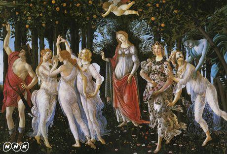 """春女神の瞳に秘めた謎 ルネサンスの巨人・ボッティチェリ 出演 中野京子さん(作家・ドイツ文学者) 布施英利さん(美術評論家) 惣領冬実さん(漫画家) など レオナルド・ダ・ヴィンチやミケランジェロと並ぶ、ルネサンスの巨人・サンドロ・ボッティチェリ。代表作「ヴィーナスの誕生」や「春」には、官能的な女神たちが登場し、""""愛""""をテーマに華やかな世界を繰り広げる。歓喜に満ちた神話の世界。しかし、女神たちの表情を見ると、そのまなざしはうつろ。どこか切なく、哀しみをたたえている。一体、なぜなのか。 ルネサンスは、哲学、文学、芸術を通して「人間」とは何かを改めて見つめた時代。ボッティチェリは、パトロンであったメディチ家や多くの芸術家との出会いを通じて、新たな美の革命を目指す。挑んだのは、""""心の奥にある世界""""をどう表すかという難題。古代神話の世界を読み解き、さまざまなタブーを乗り越え、時代と格闘しながら、独自の女性美を創り上げていった。 激動の時代、ボッティチェリは何を思い、どんな模索を重ねたのか。女神たちの瞳に秘められた謎を解き明かしながら、ボッティチェリの真実に迫って行く。"""