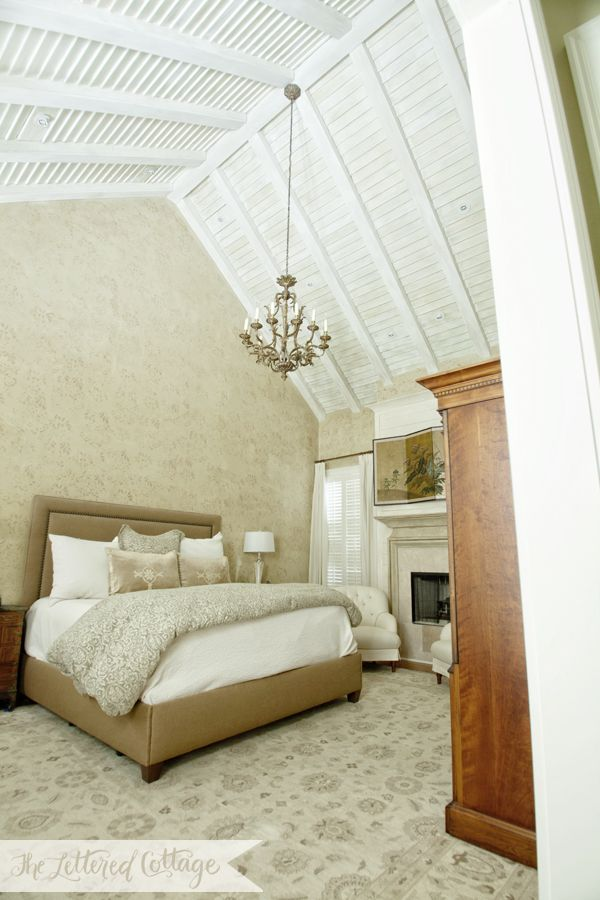 Traditional Bedroom | High Ceiling | Wood | Stencil | Neutral Colors Love the ceiling!