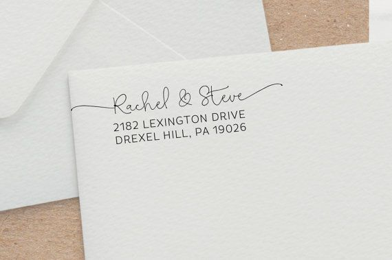 Hand-drawn Script Address Stamp with Swashes, Wedding Invitation Stamp, Customized Rubber Stamp, Self Inking Address Stamp, Wedding Gift