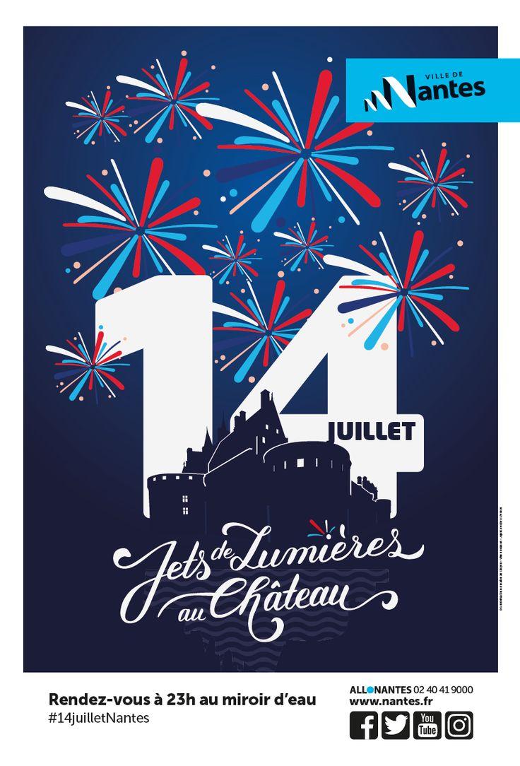MOSWO | Ville de Nantes | Affiche | Visuel 14 juillet | fête nationale | feu d'artifice | typographie | château | ombre |