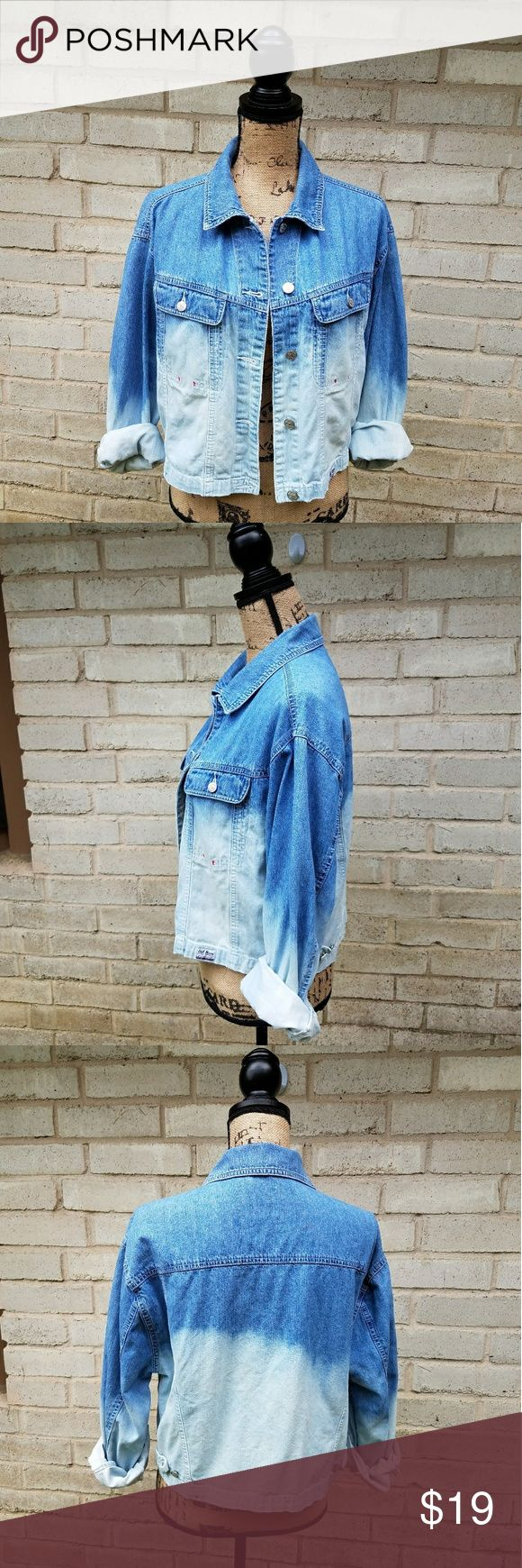 """Dip Dye Blue Denim Ombre Jacket Size XL Old navy cotton denim jacket recycled using a dip dye ombre effect. Beautiful and unique . Excellent piece for layering. Perfect to dress up or down. Tagged size XL. Great condition.  Measurements : Length 19"""" 18""""across front laying flat buttoned #ravenkittystyle #denim #jacket #recycled #upcycled #ombre #dipdye #unique #sizeXL #fall #fallfashion #layer #dressupordown Old Navy Jackets & Coats Jean Jackets"""