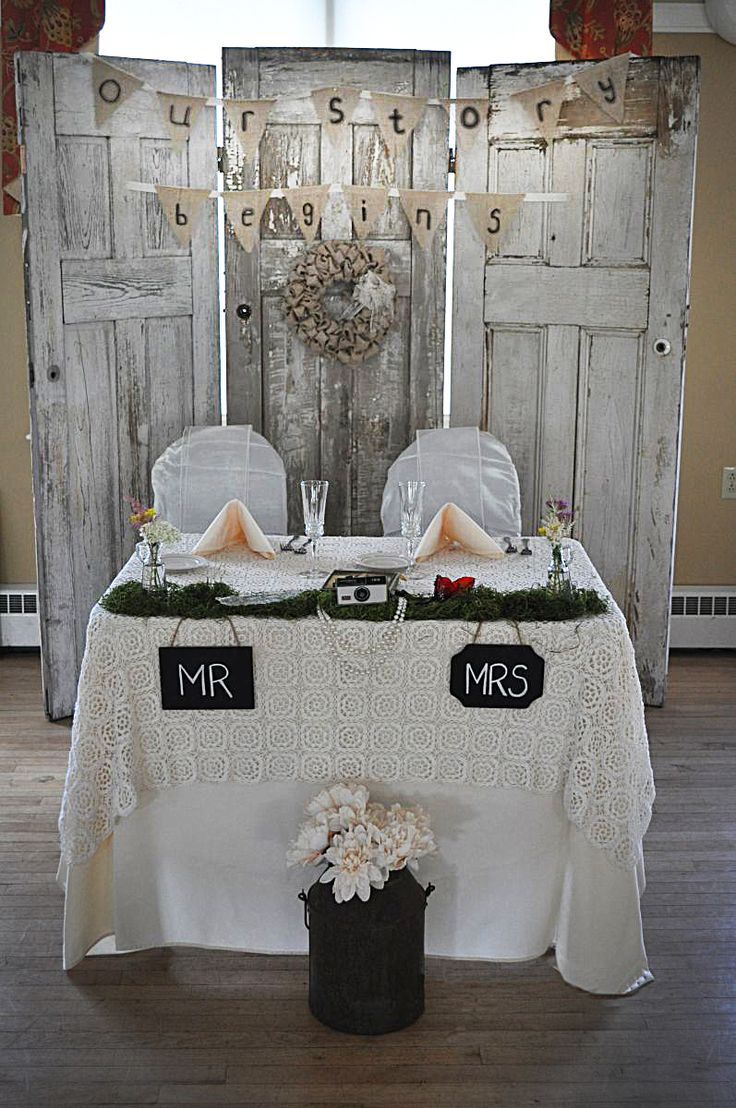 Shabby Chic Vintage Wedding - Our Shabby Chic Sweetheart Table with old wooden doors