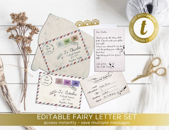 Tooth Fairy Instant Download Tooth Fairy Receipt Templett Lost Tooth Certificate Fairy Letter Printable Fairy Note Personalized Tooth Fairy Letter Tooth Fairy Tooth Fairy Receipt