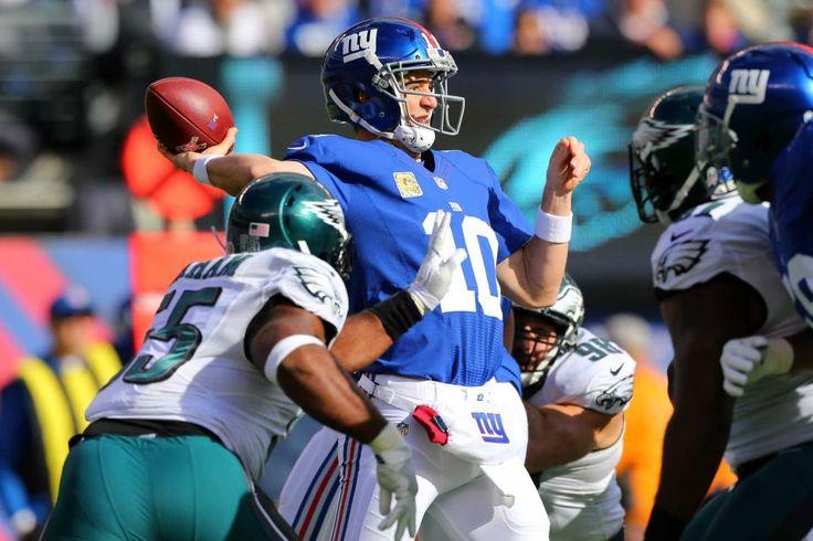 Eagles vs. Giants:  28-23, Giants  -  November 6, 2016  -       Eli Manning of the New York Giants looks to pass the ball against the Philadelphia Eagles at MetLife Stadium on Sunday, Nov. 6, 2016 in East Rutherford, N.J.
