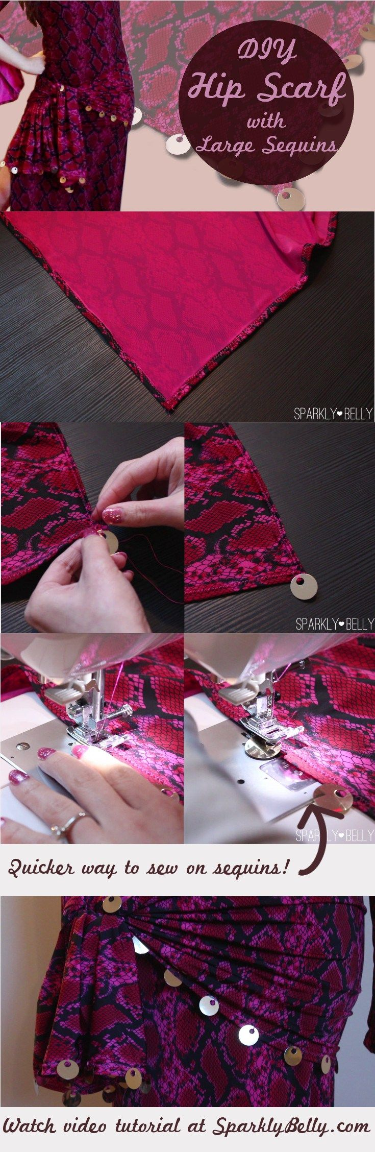 How to make your own hip scarf with sequins. Time saving tip!