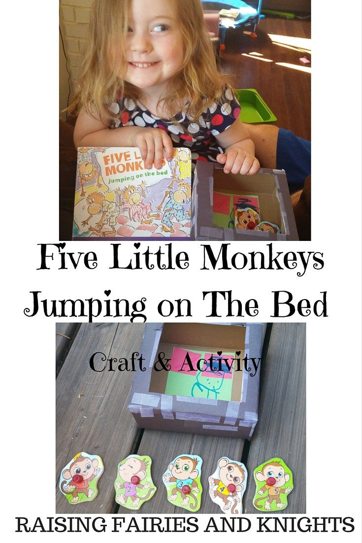 Five Little Monkeys Craft & Activity - We  celebrating Five Little Monkeys Jumping on the Bed with an easy to make craft and activity to go with it to encourage your children to read.