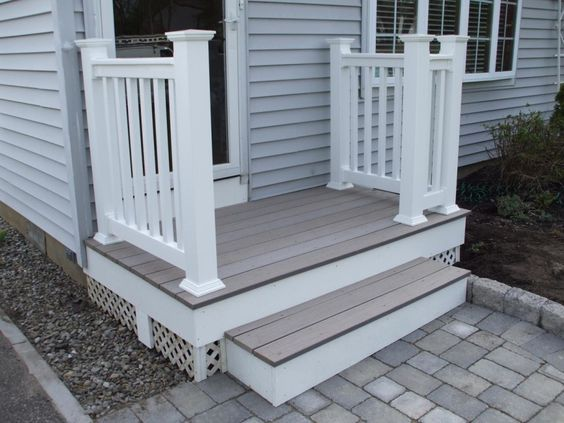 Concrete Front Porch Ideas & Recommendation : Endearing Small Front Porch Decoration Using Grey Brick Concrete Front Porch Flooring Including Small White Wood Exterior Handrail And Light Gray Wood Siding Front Porch Wall