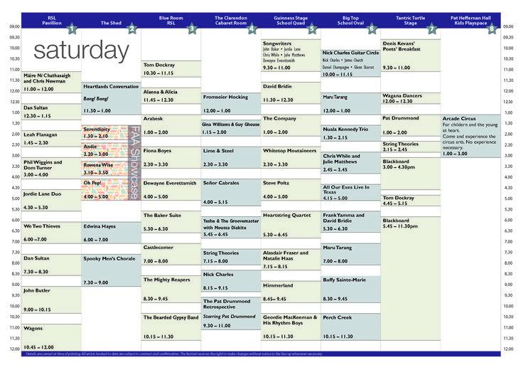 bmff.org.au - saturday concert schedule