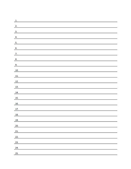 If you need to make a list, use this free printable numbered line paper form in pdf format with form fields that allow you to create a title and list