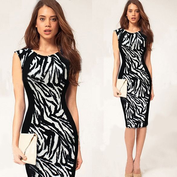 Stylish Lady Women Sexy Sleeveless Leopard Bodycon Stretch Knee Cocktail Pencil Dress