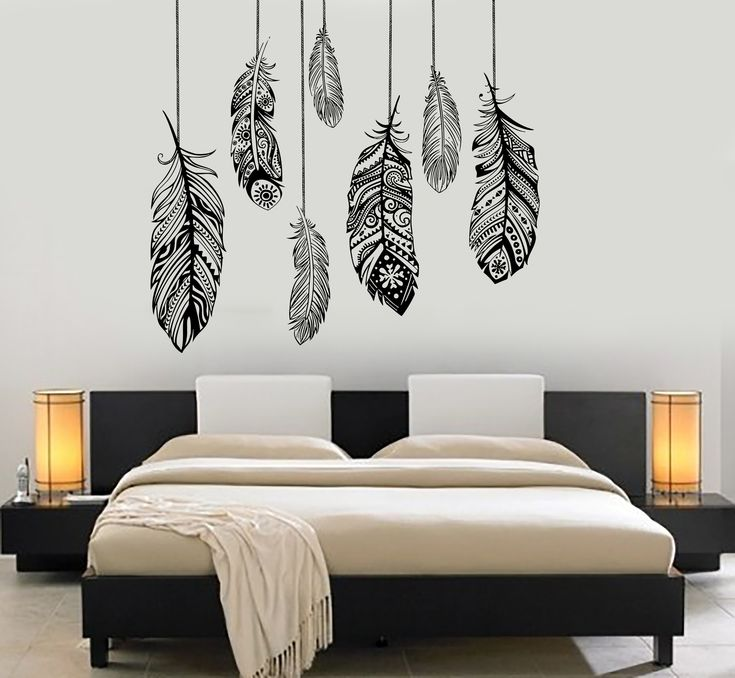 Wall Vinyl Decal Feather Romantic Bedroom Freedom Decor z3684