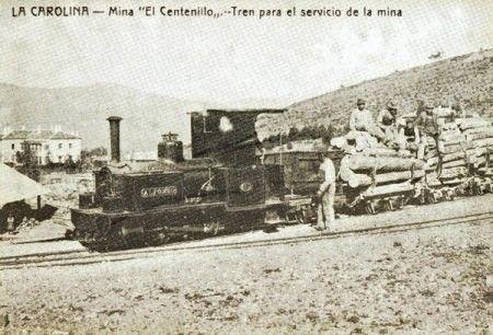 Tren Minero del El Centenillo, postal comercial , fondo: Miguel Diago Arcusa