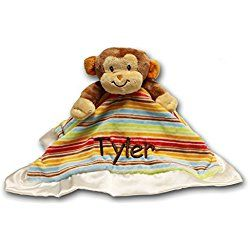 Personalized Monkey Lil Snugglers Baby Snuggle Blanket With Name- 13 Inches