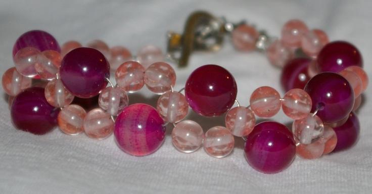 pink agate and cherry quartz