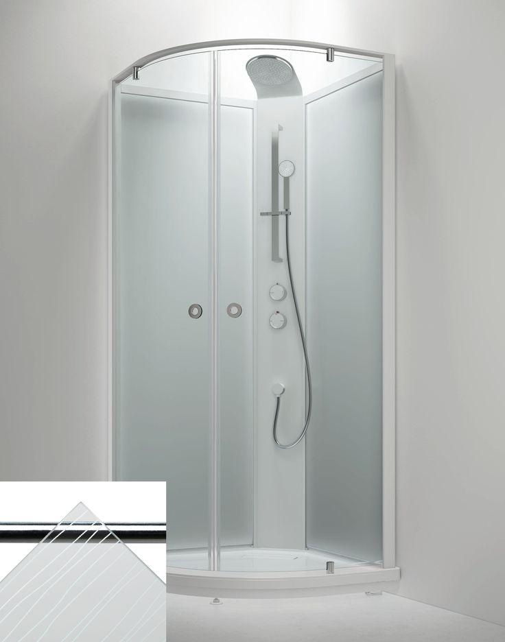 Suihkukaappi Sanka BRIC 4 910x910 mm valkoinen/lasi kontur ja frost