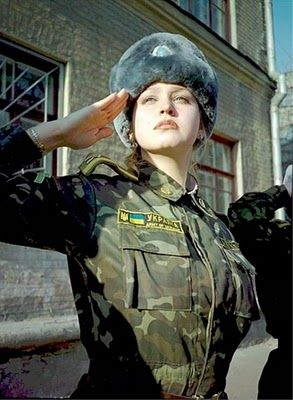 Ukrainian Military woman. Beautiful! (Wearing the Tryzub on her chest badge and on her hat)