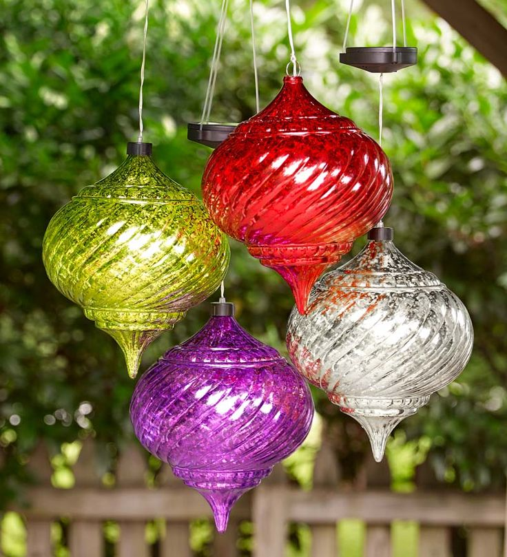 Large outdoor solar color changing finial ornament for Large christmas lawn ornaments
