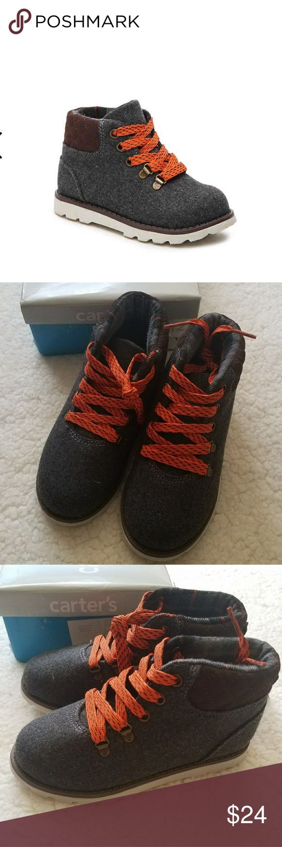 Carter's Marsh toddler boots Carters Marsh toddler boots boys toddler size 12 grey, brown, off white/orange laces  Wool fabric and synthetic upper Lace-up closure Rubber sole  New in box Carter's Shoes Boots