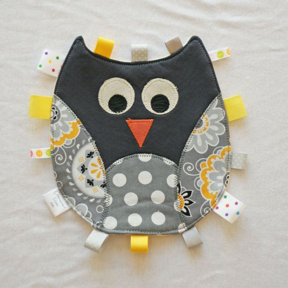 Owl Tag Toy  for baby with appliquéd features by PermanentKisses