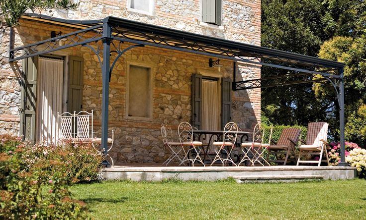 Wrought iron pergola consider this for the front of - Terrasse en bois castorama ...