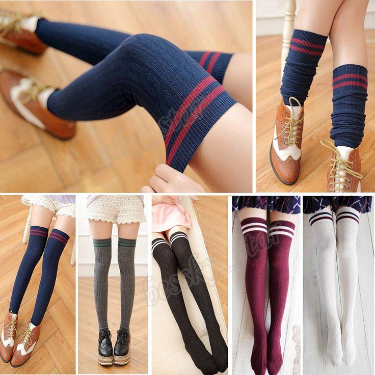 Womens Girls Thigh High Striped Over Knee Long Socks Stocking Tube Sport Tights