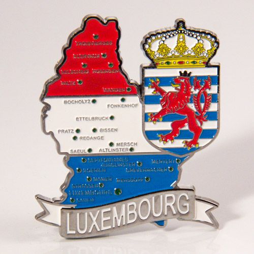 Metal Fridge Magnet: Luxembourg. Map of Luxembourg (Chrome Plating and Enamel)