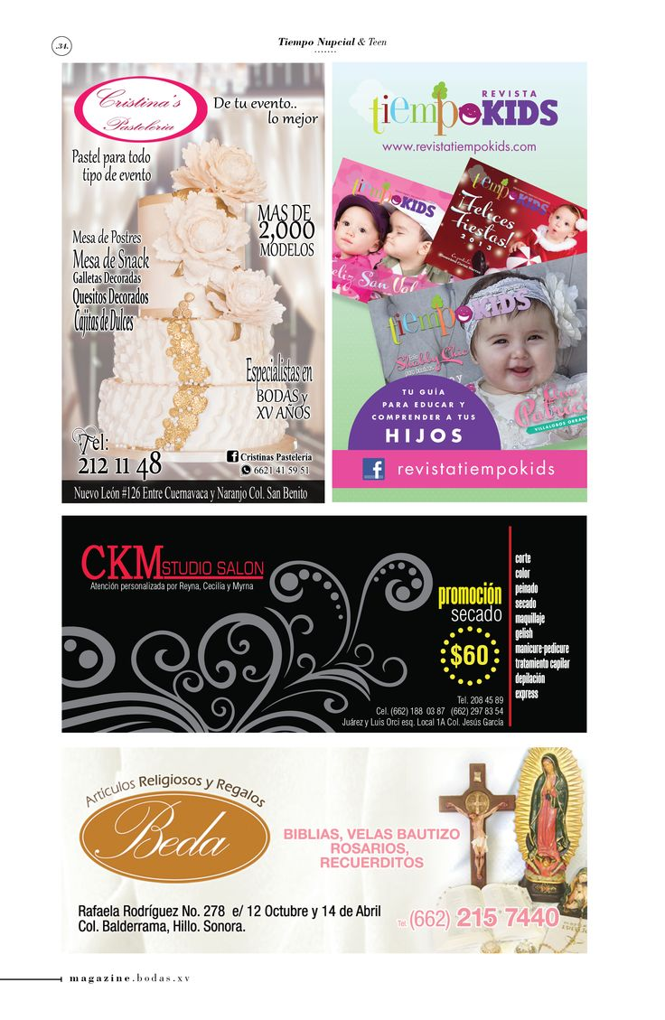 Cristinas Pastelería Tiempo Kids CKM Studio Salón Artículos religiosos Beda