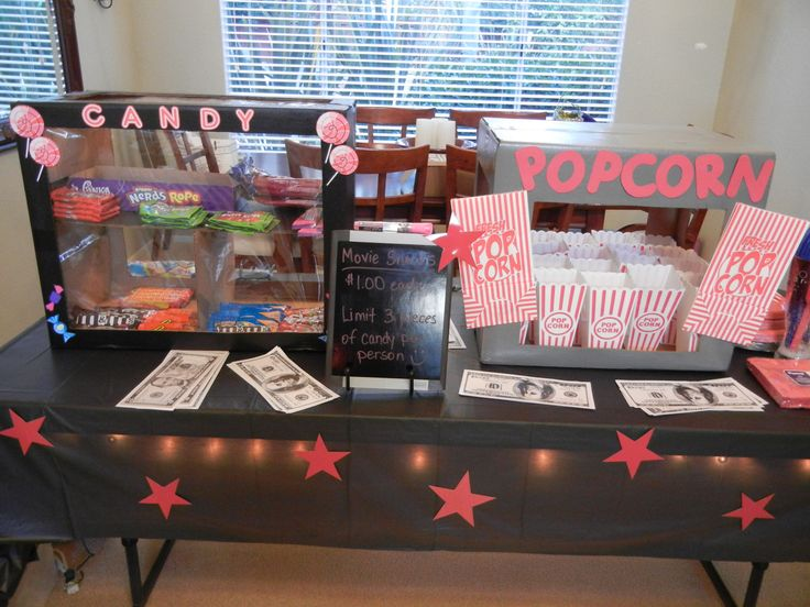 Concession stand made out of cardboard boxes for my son's drive in movie birthday party.