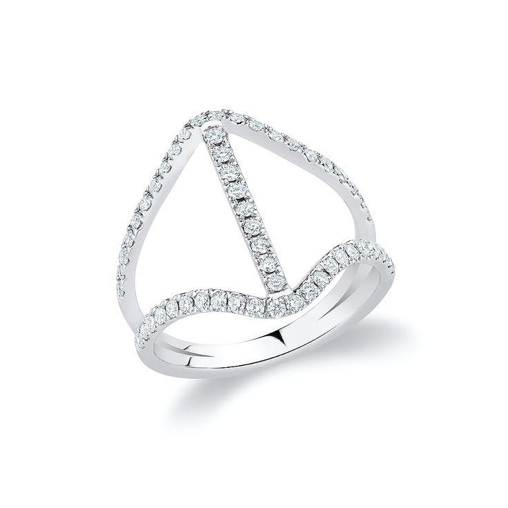 """V-Bar"" ring set with diamonds in 18K white gold."