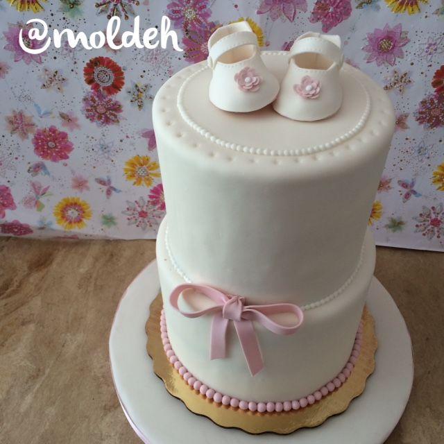 Pastel para Bautizo de bebé niña con zapatitos // Babygirl Baptism cake with little shoes
