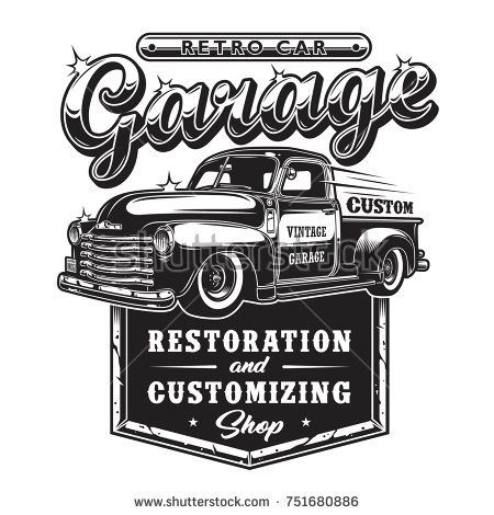 Retro car repair garage sign with retro style truc… - US Trailer can sell used trailers in any condition to or from you. Contact USTrailer and let us sell your trailer. Click to http://USTrailer.com or Call 816-795-8484
