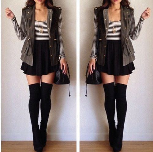 a skirt and striped shirt with black thigh-highs? classic combo. love the army green dress and black circle skirt