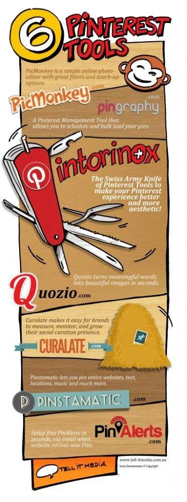 6 herramientas interesantes para #Pinterest #infografia #infographic #socialmedia