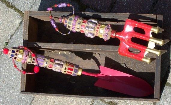Mosaic Garden Tool, Vintage Hand Rake, red, purple, brass, gold. $30.00, via Etsy.