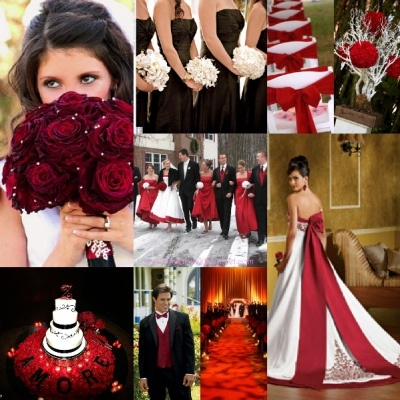 Black, Red, and White = dream wedding colors!!